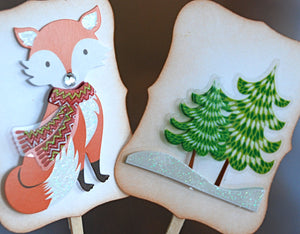 Woodland Christmas Cupcakes. Christmas Fox Cupcake Toppers. Christmas Party Decor.