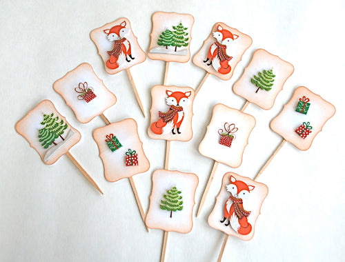 Woodland Party, Christmas Cupcake Toppers, Christmas Fox, Christmas Decor