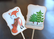 Load image into Gallery viewer, Woodland Christmas Cupcakes. Christmas Fox Cupcake Toppers. Christmas Party Decor.