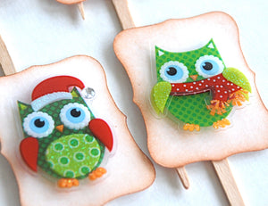 Christmas Food Picks. Owl Party Decor. Funny Fancy Christmas Owls Cupcake Toppers.