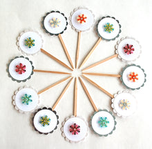 Load image into Gallery viewer, Snowflake Cupcake Toppers, Snowflake Party Decor, Winter Onederland