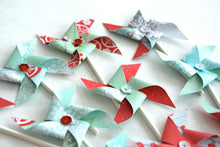 Load image into Gallery viewer, Red and Aqua Winter Pinwheels. Winter Cupcake Toppers. Snowy Aqua and Red Sequined Pinwheel Cupcake Toppers