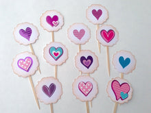 Load image into Gallery viewer, Sweet Patterned Hearts Cupcake Toppers. Valentine's day supplies. Heart cupcakes. Polka dot party. Pink teal and purple. Girly hearts.