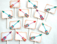 Load image into Gallery viewer, Arrow Cupcake Toppers. Arrow Birthday. Pink, Purple and Teal Arrows. Chevron Arrows. Girly Baby Shower. Valentines Day Decor. Anniversary.