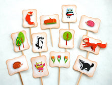 Load image into Gallery viewer, Woodland Cupcake Toppers. Woodland Party Animals Cupcake Toppers. Woodland Baby Shower Decor.