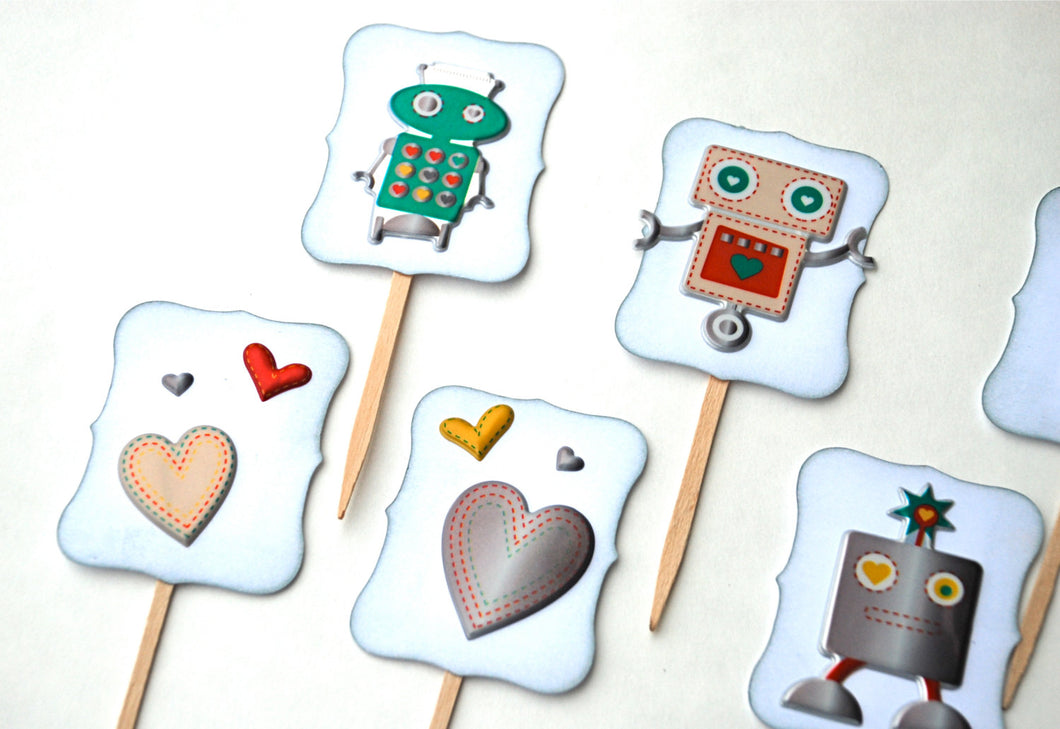 Robot Cupcake Toppers. Heart Cupcake Toppers. Robots Full of Love. Robot Birthday Party. Kid Valentine's Day Cupcakes.