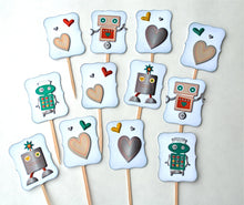 Load image into Gallery viewer, Robot Cupcake Toppers. Heart Cupcake Toppers. Robots Full of Love. Robot Birthday Party. Kid Valentine's Day Cupcakes.