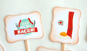 Bacon Lover Cupcake Toppers, Brunch Decor, Father's Day Celebration Supplies, Eat More Bacon, Bacon and Eggs, Dude Party Food Picks