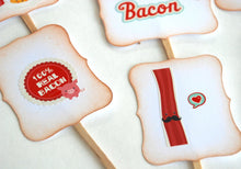 Load image into Gallery viewer, Bacon Lover Cupcake Toppers, Brunch Decor, Father's Day Celebration Supplies, Eat More Bacon, Bacon and Eggs, Dude Party Food Picks