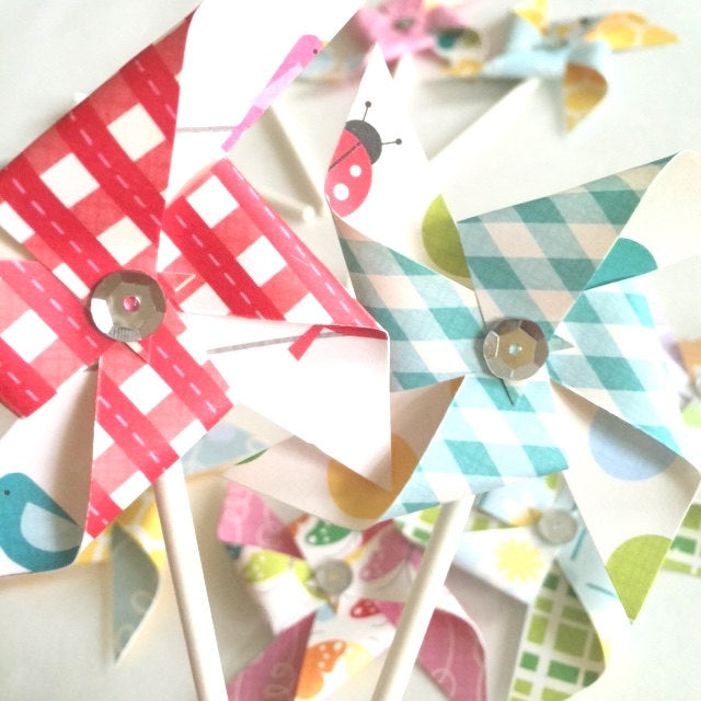 Country Drive Sequined Pinwheels - Cupcake Toppers/Party Picks