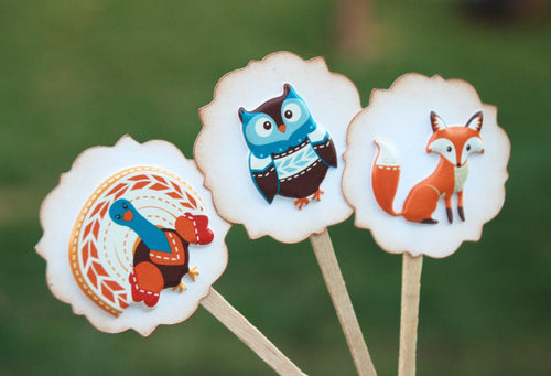 Thanksgiving Food Picks. Give Thanks. Thanksgiving Decor. Fall Cupcake Toppers.