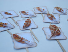 Load image into Gallery viewer, Fall Fancy Feathers Cupcake Toppers. Thanksgiving Decor. Thanksgiving Table Decor. Feather Party Decor.
