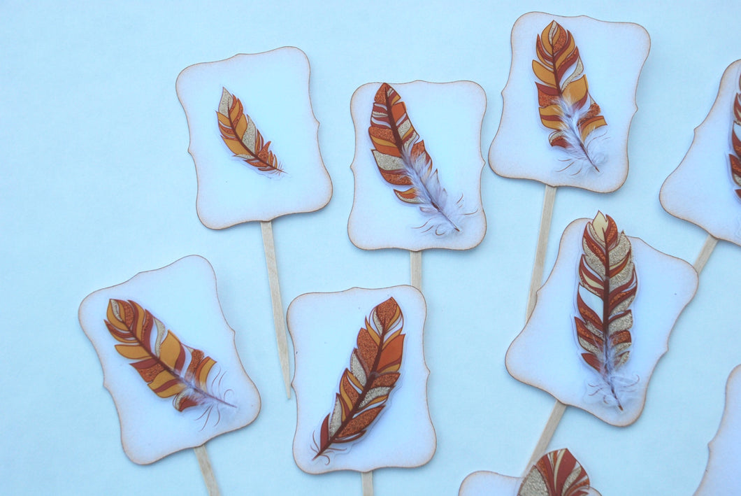 Fall Fancy Feathers Cupcake Toppers. Thanksgiving Decor. Thanksgiving Table Decor. Feather Party Decor.