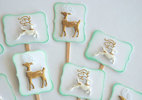 Reindeer Cupcake Toppers, Christmas Party Decor
