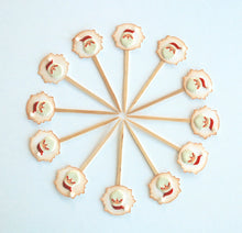 Load image into Gallery viewer, Santa Christmas Cupcake Toppers. Christmas Party Decor. Mini Cupcake Picks.