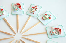 Load image into Gallery viewer, Penguin Party Decor. Winter Penguin Cupcake Toppers. Christmas Cupcakes.
