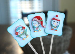 Penguin Party Decor. Winter Penguin Cupcake Toppers. Christmas Cupcakes.
