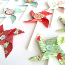 Load image into Gallery viewer, Holiday Pinwheels, Candy, Hot Cocoa, Christmas Cupcake Toppers