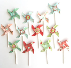Holiday Pinwheels, Candy, Hot Cocoa, Christmas Cupcake Toppers