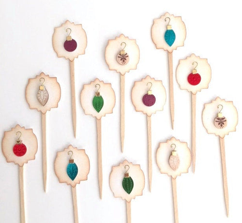 Ornament Cupcake Toppers. Christmas Party Decor. Tiny Foil and Wood Christmas Ornament Cupcake Toppers.