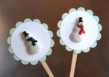Load image into Gallery viewer, Snowman Party Decor. Glitter Snowman Cupcake Toppers. Christmas Party Decor. Winter Onederland Party. Red and Black.