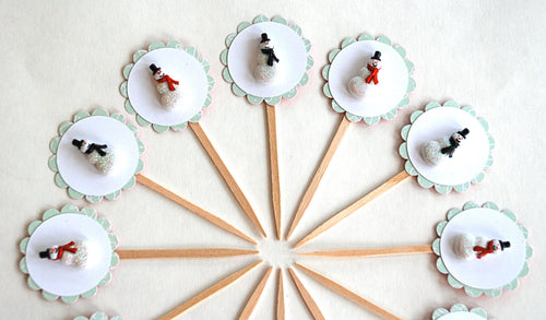 Snowman Cupcake Toppers, Winter Onederland Party