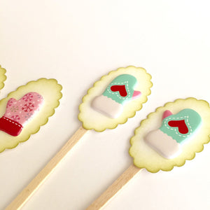 Winter Mitten Cupcake Toppers. Christmas Party Decor. Holiday Food Picks.