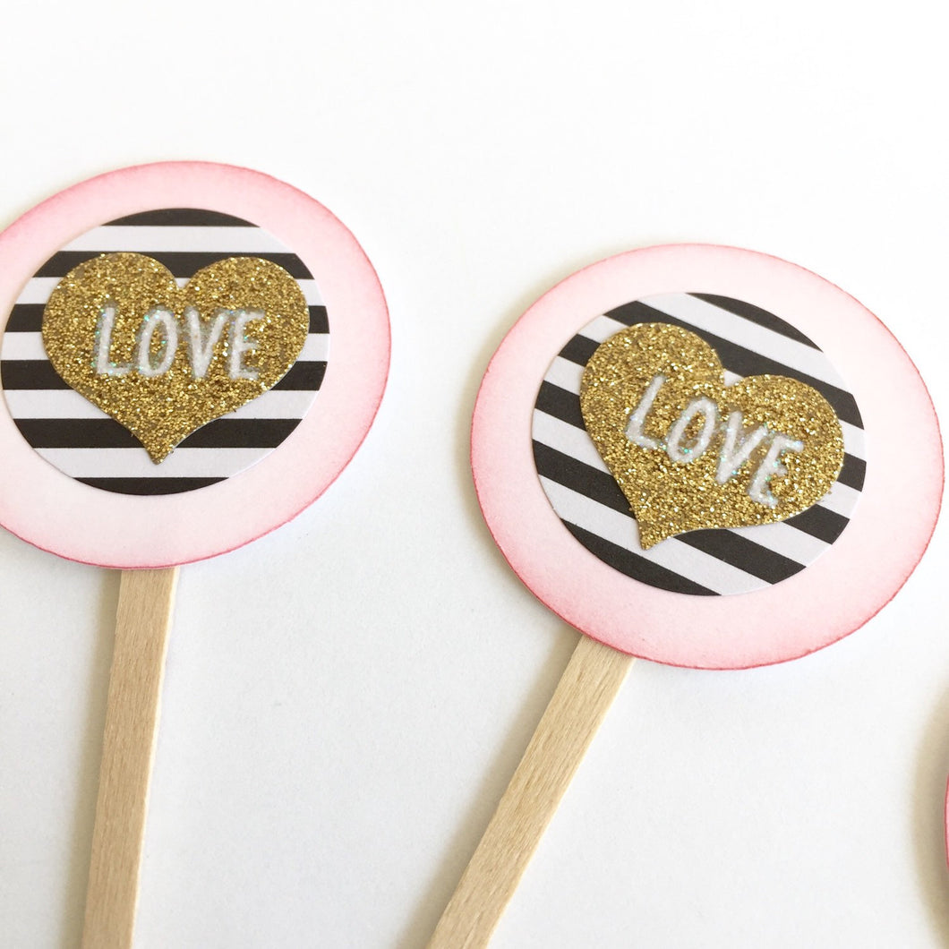 Gold black and white striped glittery heart cupcake toppers. Love. Wedding decor. Valentine's Day. Anniversary cupcake picks.