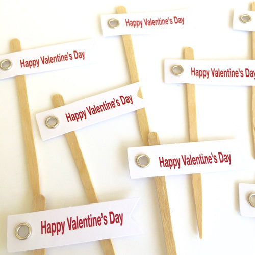 Valentine Flags Cupcake Toppers. Happy Valentiness day. Valentine's day party supplies.