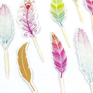 Feather Cupcake Toppers. Bright Feathers. Boho Bridal Shower. Boho Birthday Party. Boho Baby Shower. Boho Wedding Decor.