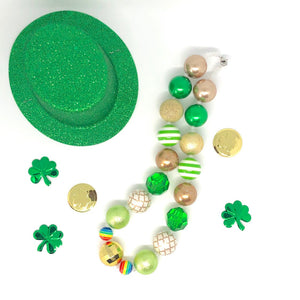 St. Patrick's Day Little Girls Bubblegum Necklace #3. Leprechaun Gift. Saint Patty's Day Party Accessory.