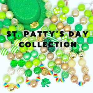 St. Patrick's Day Little Girls Bubblegum Necklace #6. Leprechaun Gift. Saint Patty's Day Party Accessory.