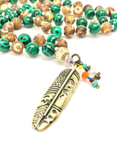 Load image into Gallery viewer, Feather Necklace. Green Malachite and Agate 108 Mala Necklace with Feather Charm. Semi-precious Gemstones. Meditation Jewelry.