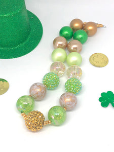 St. Patrick's Day Little Girls Bubblegum Necklace #4. Leprechaun Gift. Saint Patty's Day Party Accessory.
