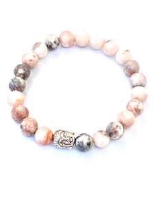 Pink and Grey Jasper Buddha Head Mala Bracelet. Mala Bracelet. Buddha Bracelet. Stretch Healing Bracelet. Yoga Jewelry for Women.