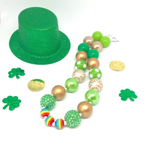 St. Patrick's Day Little Girls Bubblegum Necklace #2. Leprechaun Gift. Saint Patty's Day Party Accessory.