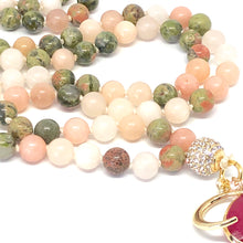 Load image into Gallery viewer, Moon Mala Necklace. Pink Opal & Unakite 108 Bead Mala Necklace. Meditation Jewelry.