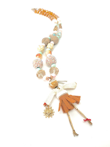 Fashion Sun Diva in Pink Mint + Gold Beaded Necklace