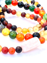 Load image into Gallery viewer, Fall Colors Mala Bracelet Stack. Agate and Rose Quartz Semi-precious Gemstones.  Fall Jewelry. Stretch Healing Bracelets. Set of 3.