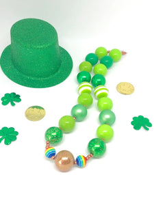 St. Patrick's Day Little Girls Bubblegum Necklace #5. Leprechaun Gift. Saint Patty's Day Party Accessory.