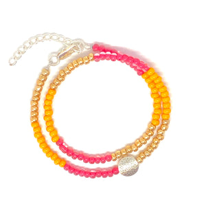 Sun Lover Czech Glass Seed Bead Wrap Bracelet