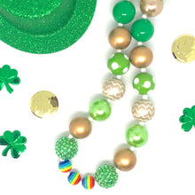 Load image into Gallery viewer, St. Patrick's Day Little Girls Bubblegum Necklace #2. Leprechaun Gift. Saint Patty's Day Party Accessory.