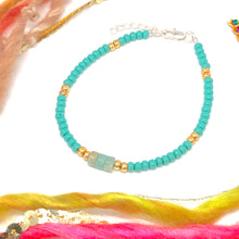 Load image into Gallery viewer, Snake Skin Jasper with Aqua and Gold Czech Seed Bead Bracelet