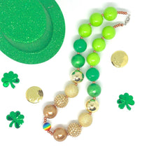 Load image into Gallery viewer, St. Patrick's Day Little Girls Bubblegum Necklace #1. Leprechaun Gift. Saint Patty's Day Party Accessory.