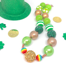 Load image into Gallery viewer, St. Patrick's Day Little Girls Bubblegum Necklace #6. Leprechaun Gift. Saint Patty's Day Party Accessory.