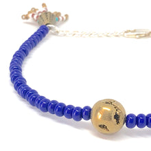 Load image into Gallery viewer, Blue Czech Seed Bead and Gold Nugget Charm Bracelet. Blue and Gold Jewelry.