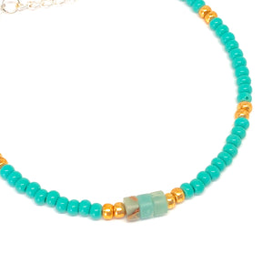 Snake Skin Jasper with Aqua and Gold Czech Seed Bead Bracelet