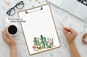 Printable Lined Stationary - Watercolor Llama and Cactus Design