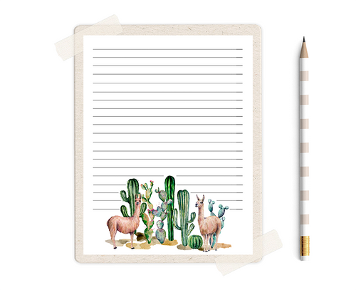 Llama Stationery with Succulents, Llama Party Thank you Notes, Cute Stationery, Cactus Stationery, Succulent Gift, Watercolor Stationery
