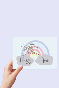 Miss you Card, Rainbow Card, Miss your Face, I Miss you, Printable Card